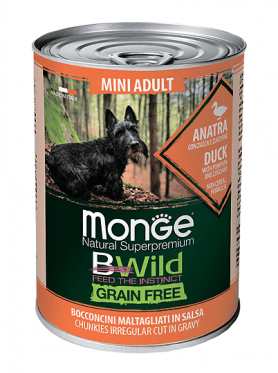 Monge Dog Bwild Grain Free Mini Беззерновые консервы для собак из утки с тыквой и кабачками